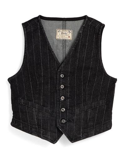 Striped Denim Vest, Blue, Size 2T-6X