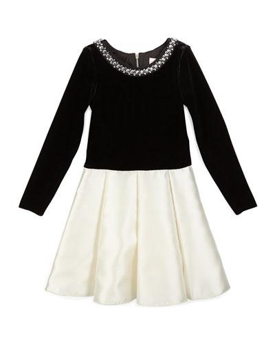Long-Sleeve Velvet & Sateen Dress, Black/Cream, Size 7-14
