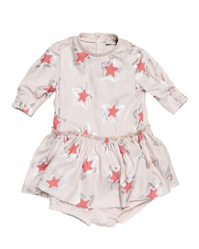 Cosmic Star Jersey Play Dress, Pearl Pink, Size 9-24 Months