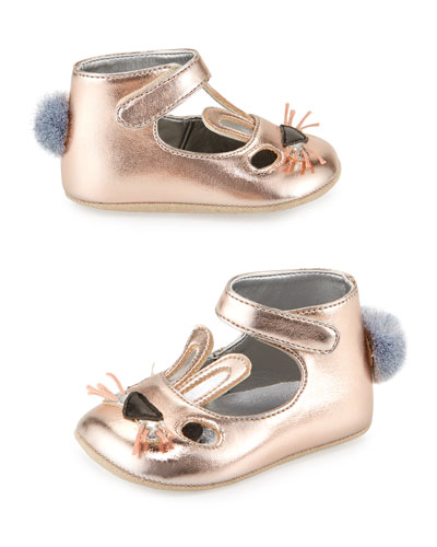 Hopper Metallic Faux-Leather Bunny Flat, Dusty Pink, Infant