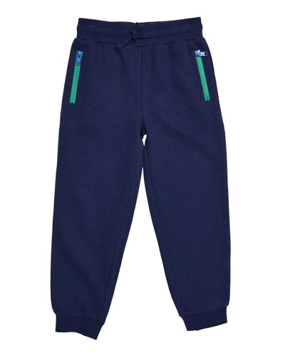 Zachary Fleece Drawstring Track Pants, Midnight Melange, Size 4-10