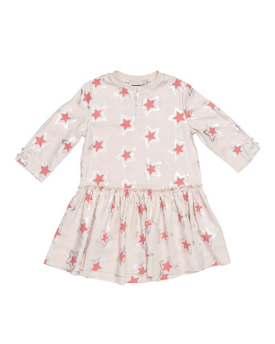 Cosmic Star Henley Jersey Dress, Pearl Pink, Size 8-14