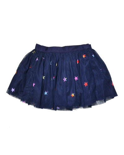 Honey Star-Print Smocked Tulle Skirt, Blue, Size 8-14