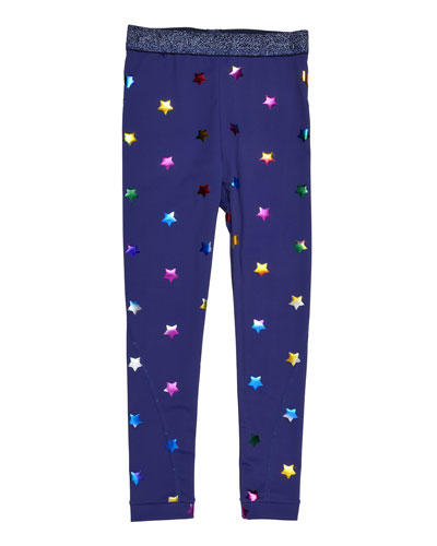 Tula Star-Print Leggings, Blue, Size 4-14