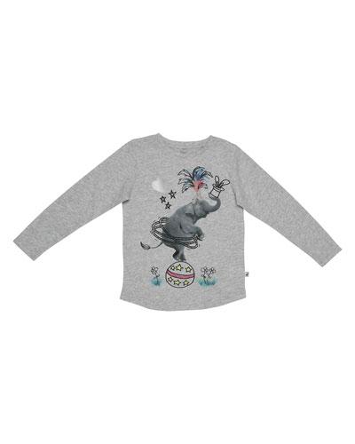 Barley Circus Elephant Jersey Tee, Gray, Size 4-14