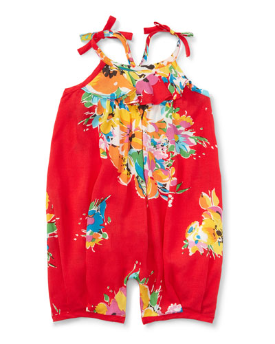 Sleeveless Floral Cross-Back Romper, Red/Multicolor, Size 9-24 Months