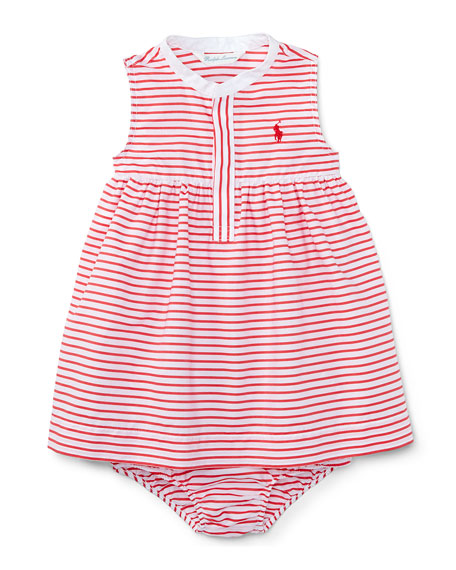 Sleeveless Striped Henley Shirtdress w/ Bloomers, Red/White, Size