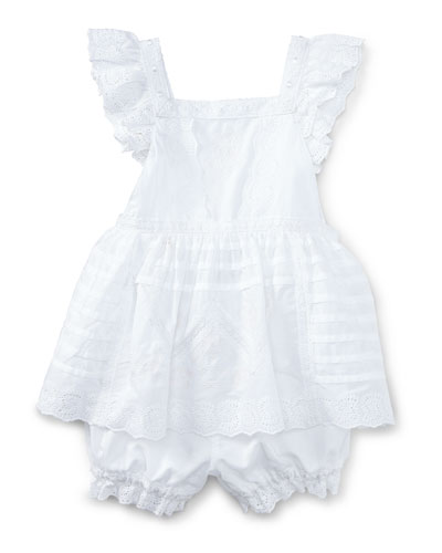 Sleeveless Embroidered Batiste Top w/ Bloomers, White, Size 9-24 Months