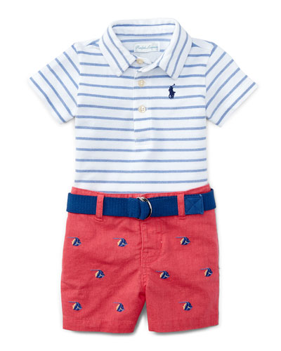 Striped Oxford Mesh Polo Shirt w/ Schiffli Shorts, Indigo Sky/Multicolor