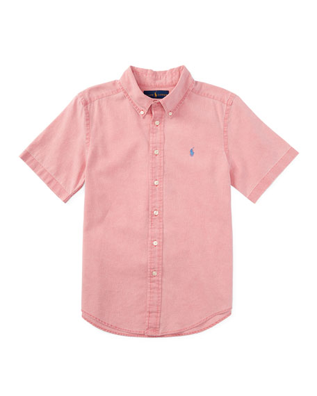 Short-Sleeve Linen-Blend Shirt, Island Red, Size 2T-4T