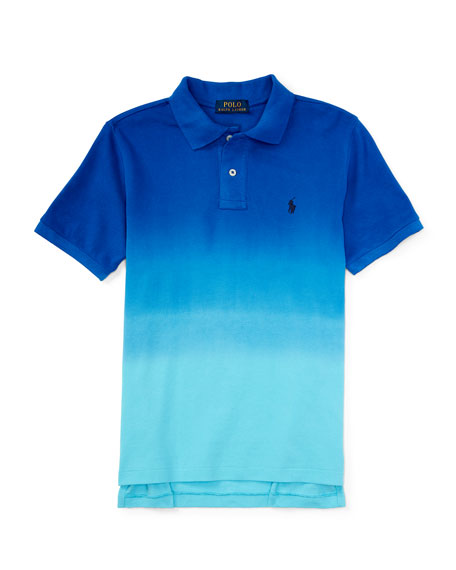 Dip-Dyed Basic Mesh Polo Shirt, Pacific Royal, Size
