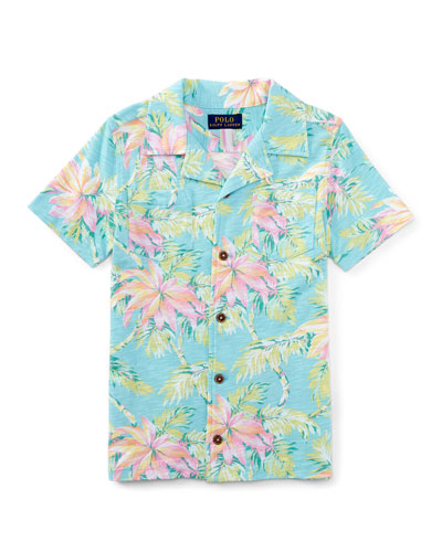 Printed Slub Jersey Polo Shirt, Faded Palm, Size 2T-4T