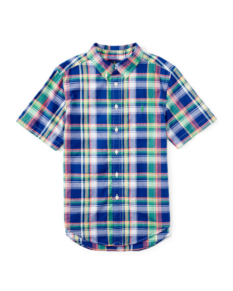 Ralph Lauren Short-Sleeve Madras Plaid Shirt, Blue/Green, Size