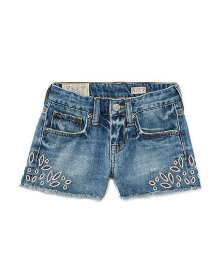 Ralph Lauren Childrenswear Denim Cutoff Eyelet Shorts, Blue,
