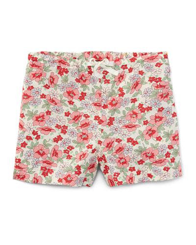 Floral Linen-Blend Drawstring Shorts, Pink, Size 2T-4T
