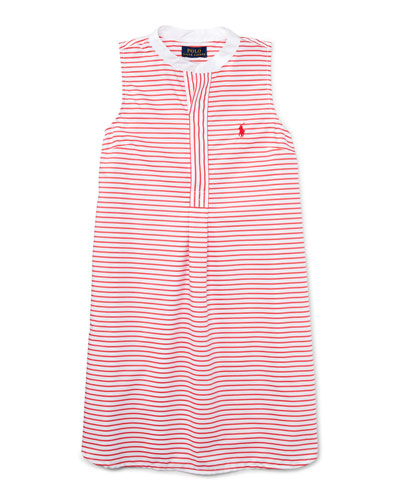 Sleeveless Striped Henley Shirtdress, Red/White, Size 2T-4T
