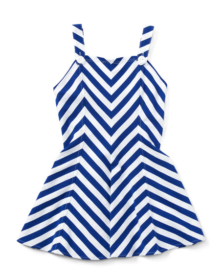 Ralph Lauren Sleeveless Striped Fit-and-Flare Jersey Dress, Blue,