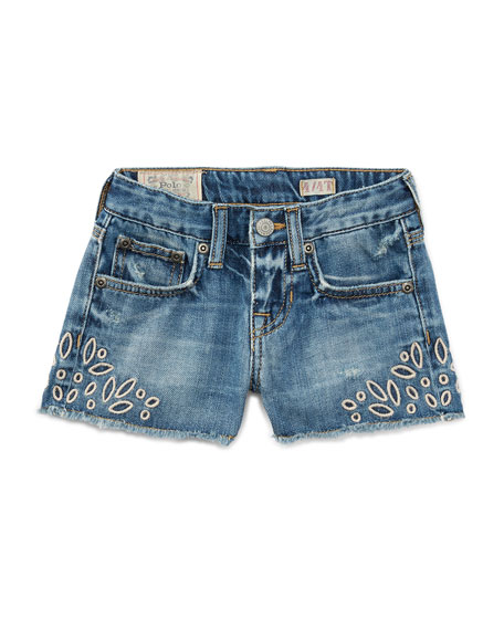 Denim Cutoff Eyelet Shorts, Blue, Size 5-6X