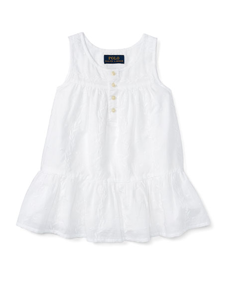 Embroidered Cotton Voile Tank, White, Size 5-6X