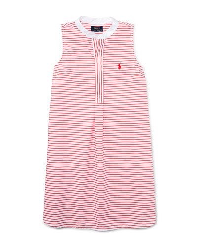 Sleeveless Striped Henley Shirtdress, Red/White, Size 5-6X