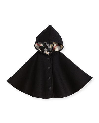 Rosa Hooded Button-Front Wool Cape, Black, Size S