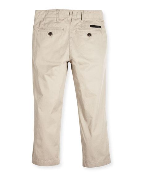 Teo Straight-Leg Twill Pants, Taupe, Size 4-14