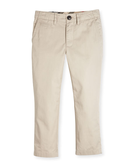 Teo Straight-Leg Twill Pants, Taupe, Size 4-14
