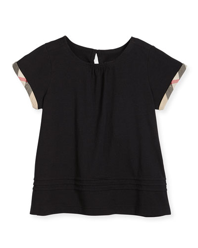 Gisselle Pintucked Jersey Tee, Black, Size 4-14