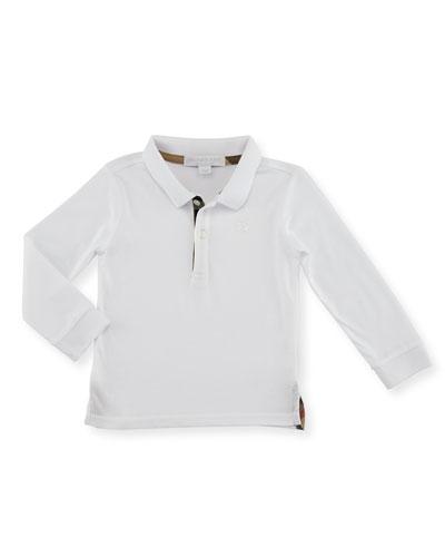 Palmer Long-Sleeve Pique Cotton Polo Shirt, White, Size 6M-3