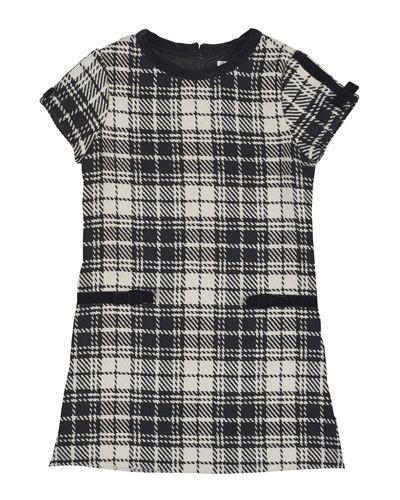 Cap-Sleeve Plaid Velvet-Trim Shift Dress, Black/White, Size 4-6X