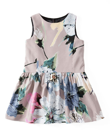 Milly Minis Sleeveless Paper Floral Party Dress, Petal,