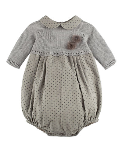 Long-Sleeve Sweater & Corduroy Bubble Playsuit, Gray, Size 3-18 Months