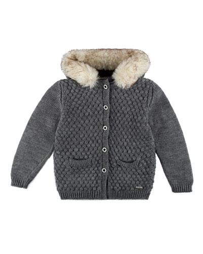 Hooded Basketweave Cardigan, Gray, Size 4-6