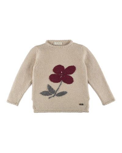 Floral-Intarsia Wool-Blend Sweater, Ivory, Size 4-6