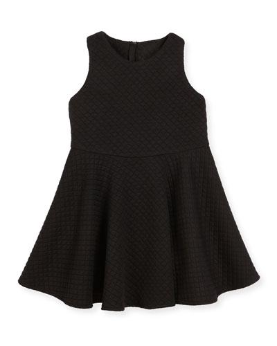 Racerback Trapunto Circle Dress, Black, Size 8-14
