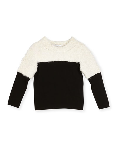 Colorblock Faux Fur Combo Pullover Sweater, White/Black, Size 8-14