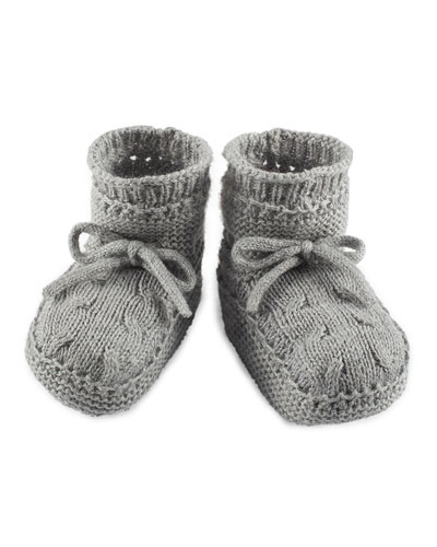 Cable-Knit Baby Booties, Gray