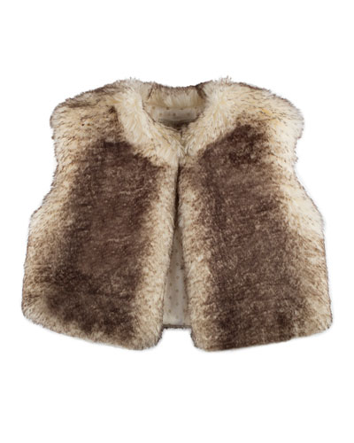Cropped Faux-Fur Vest, Ivory/Chocolate, Size 4-6
