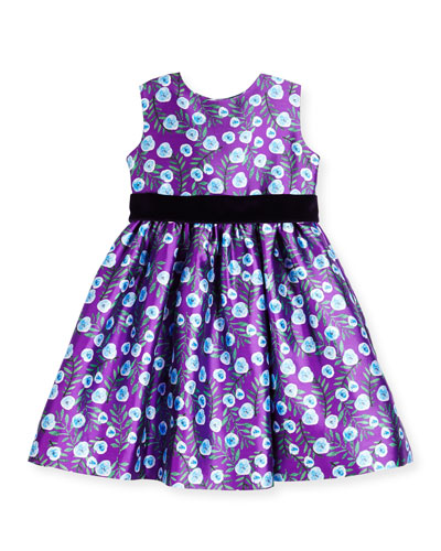 Sleeveless Petite Roses Mikado Dress, Ultraviolet, Size 3-14