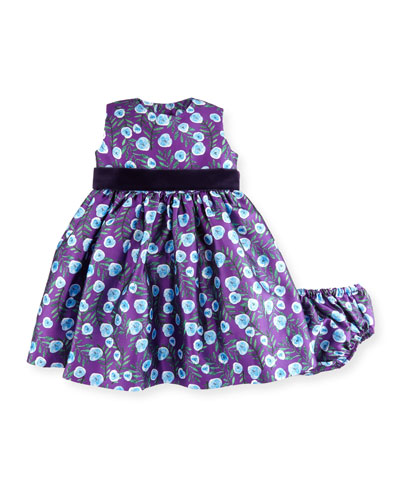 Sleeveless Petite Roses Mikado Dress w/ Bloomers, Ultraviolet, Size 12-24 Months