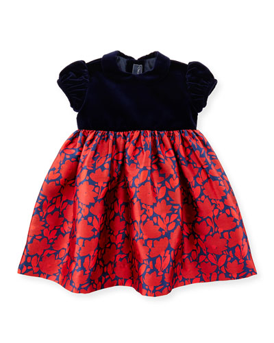 Cap-Sleeve Velvet & Mikado Dress, Navy/Ruby, Size 12-24 Months