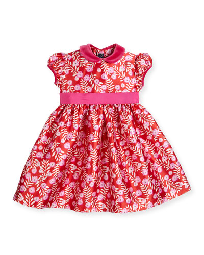 Petite Roses Mikado Dress, Ruby/Fuchsia, Size 12-24 Months