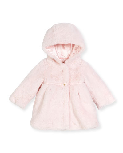 Hooded Faux-Fur Coat, Pink, Size 12M-3