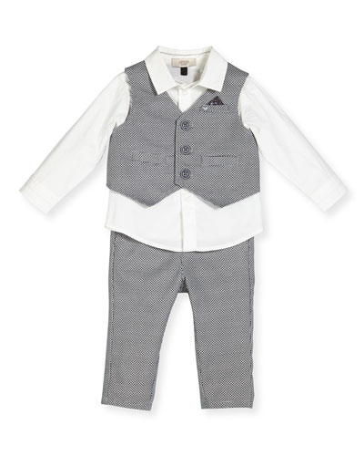 Baby Eagle Vest & Pants w/ Poplin Shirt, Gray, Size 12M-3