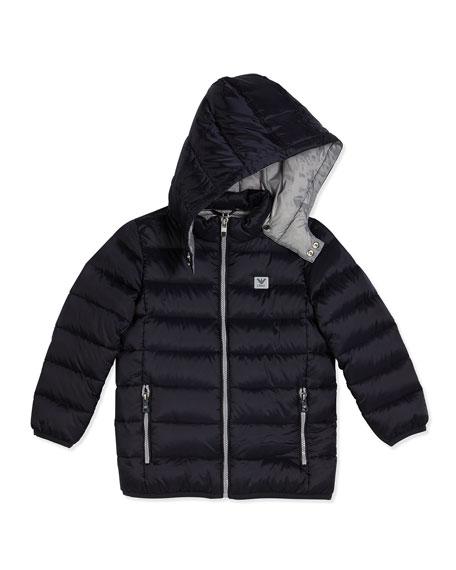 1a5566941ea1 Armani Junior Hooded Down Zip-Front Puffer Coat
