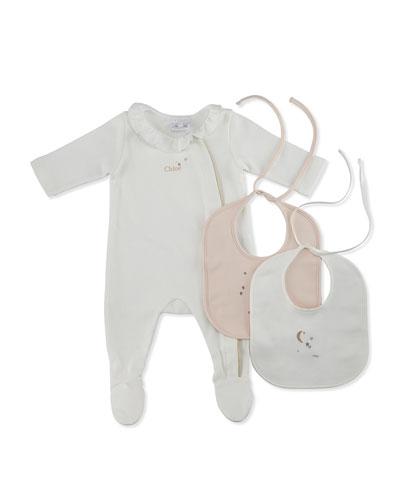 Chic Footie Pajamas w/ Bibs, Off White, Size 3-9 Months