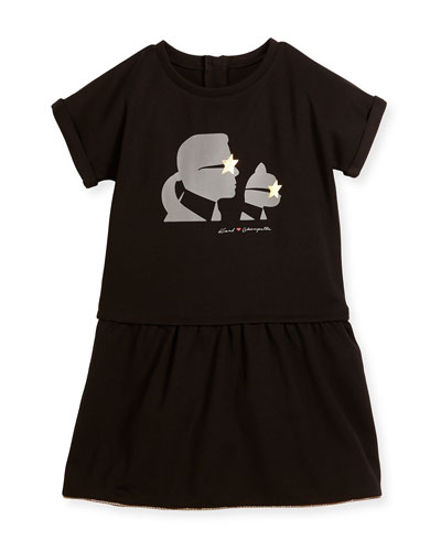 Milano Short-Sleeve Smocked Jersey Dress, Black, Size 12-16