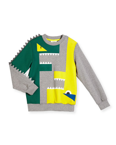 Monster Logo Slub Pullover Sweatshirt, Gray, Size 2-5