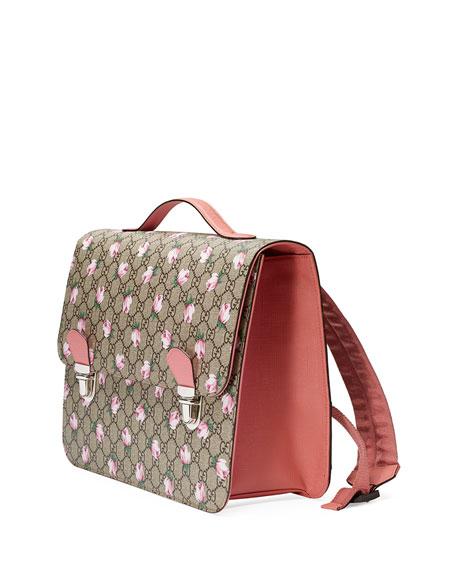 Gucci Girls' GG Supreme Roses Backpack, Beige
