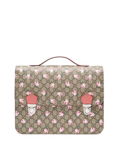Girls' GG Supreme Roses Backpack, Beige